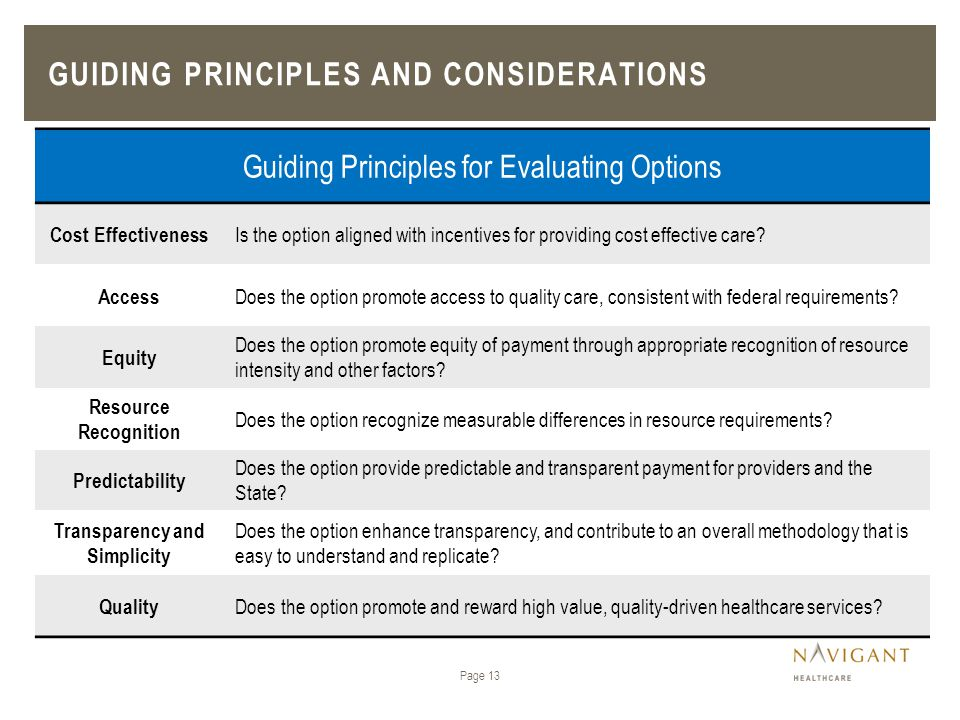 Guiding principles and considerations