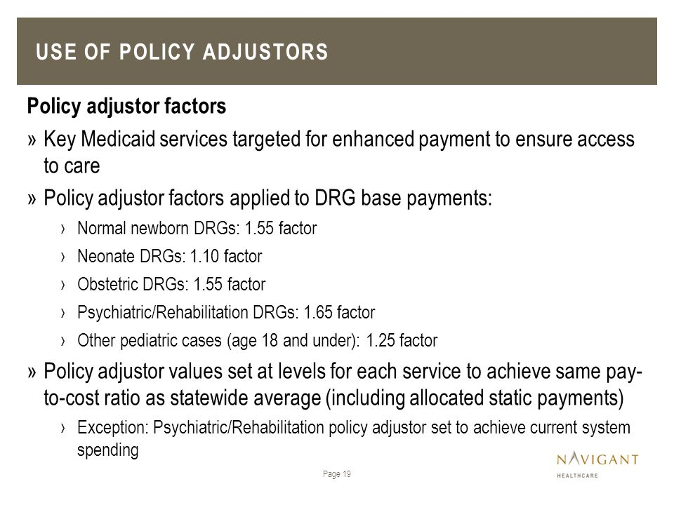 Use of Policy Adjustors