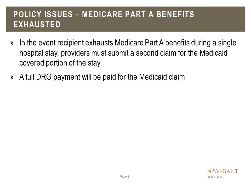 Policy issues – Medicare Part A benefits exhausted