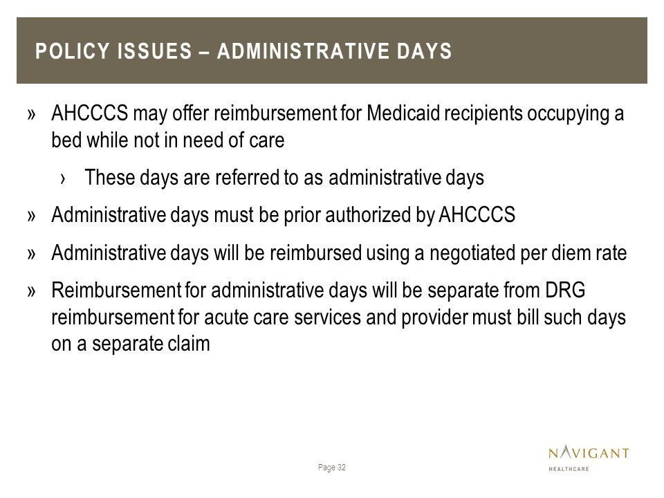 Policy issues – Administrative days