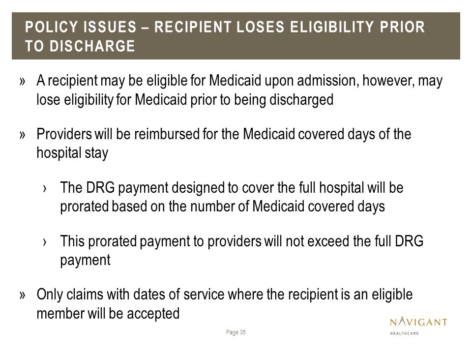 Policy issues – recipient loses eligibility prior to discharge