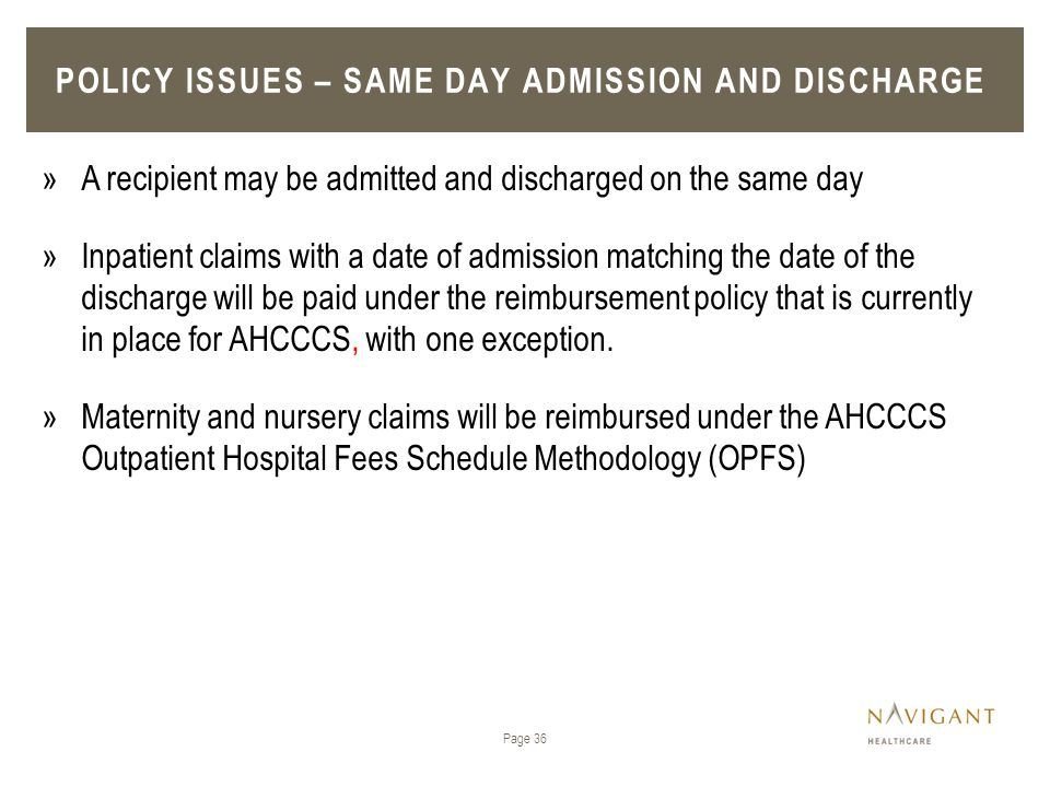 Policy issues – Same day admission and discharge
