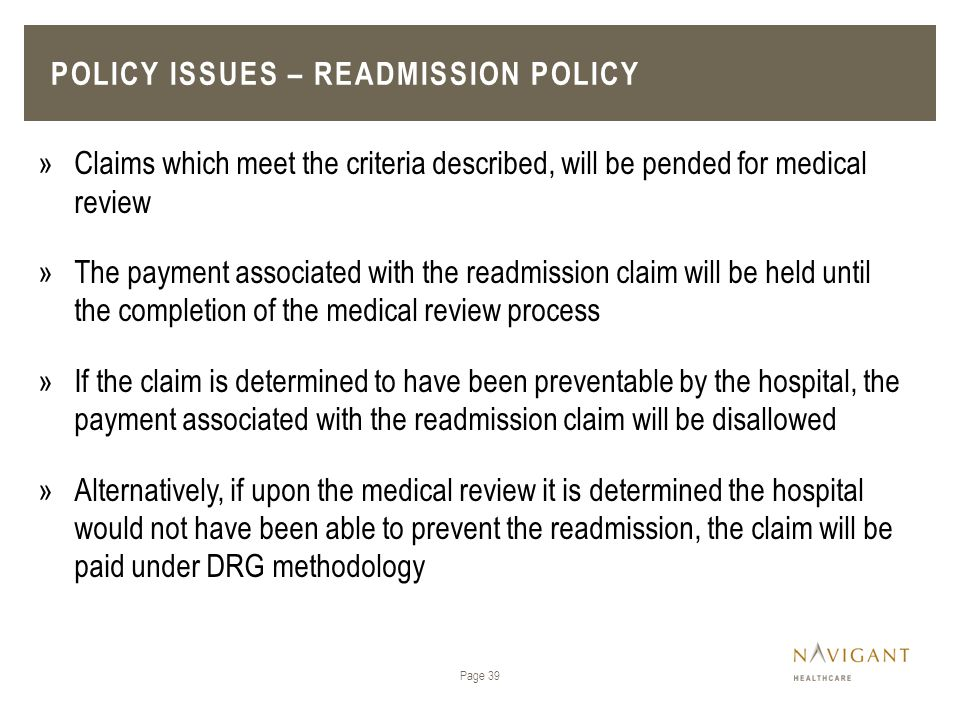 Policy issues – Readmission policy