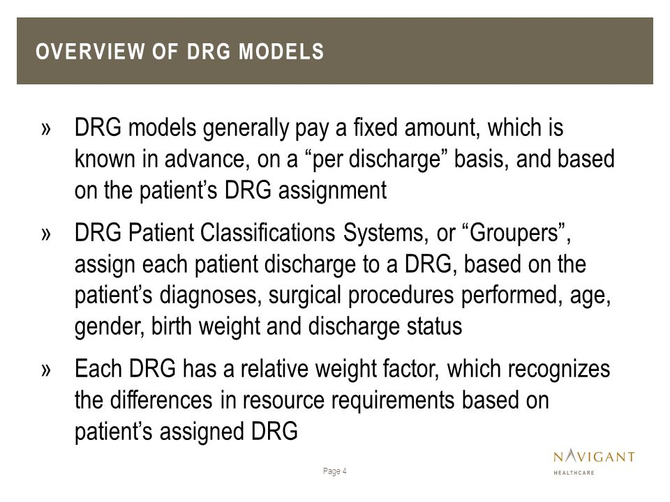 Overview of DRG Models