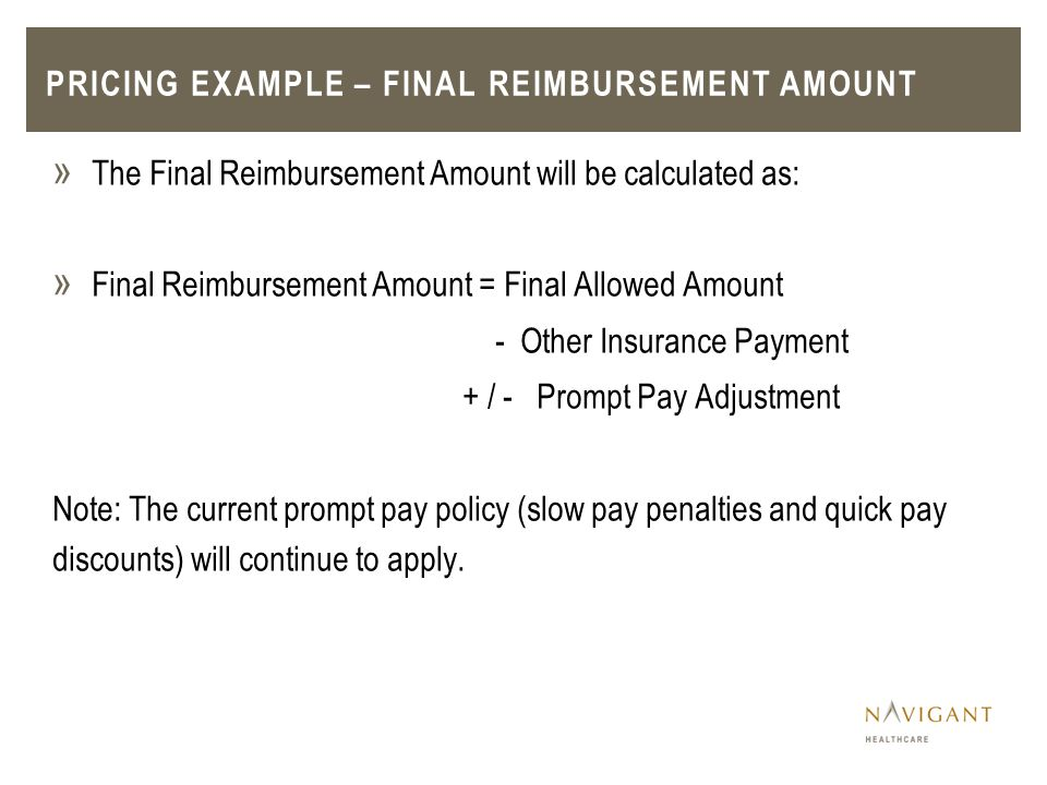 Pricing example – Final Reimbursement amount