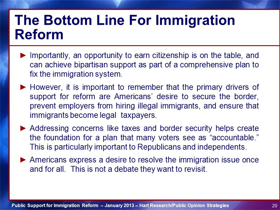 The Bottom Line For Immigration Reform