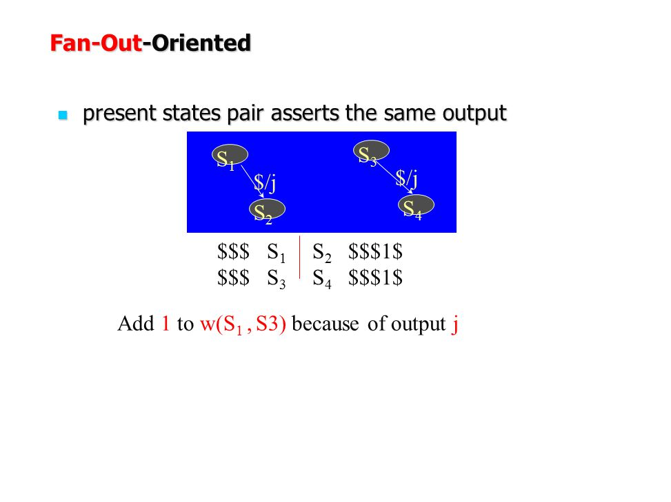 Fan-Out-Oriented present states pair asserts the same output S3 S1 $/j