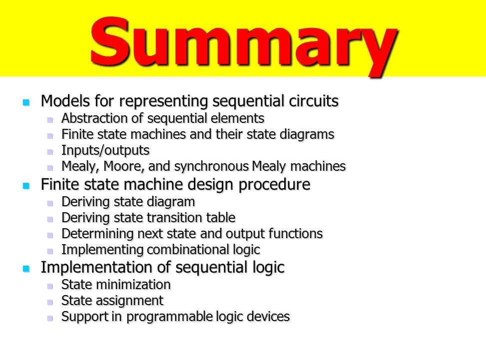 Summary Models for representing sequential circuits