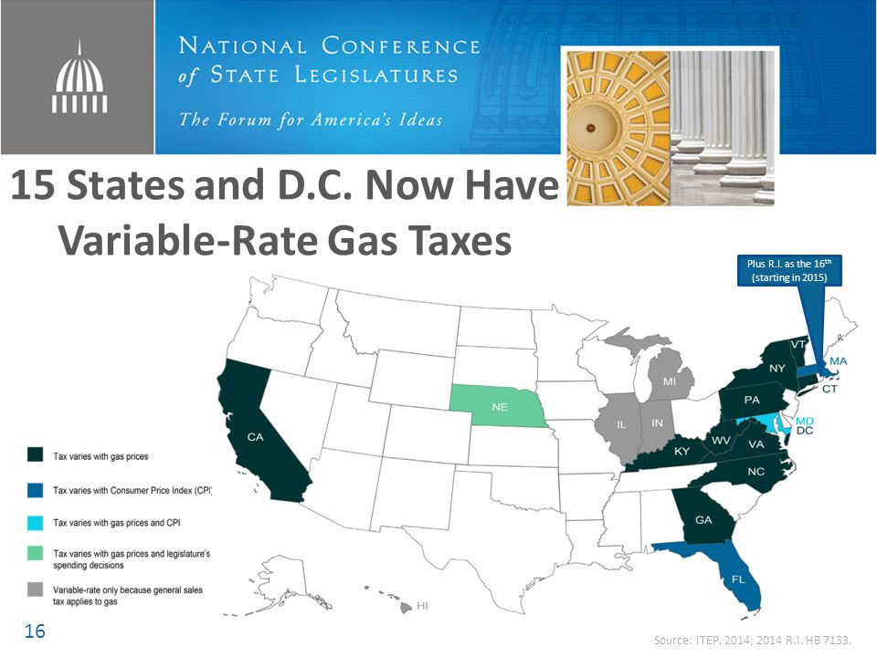15 States and D.C. Now Have Variable-Rate Gas Taxes