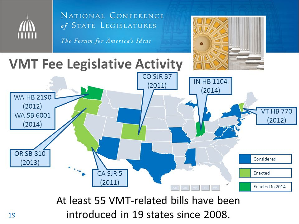 VMT Fee Legislative Activity