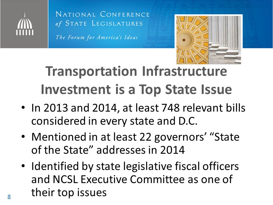 Transportation Infrastructure Investment is a Top State Issue