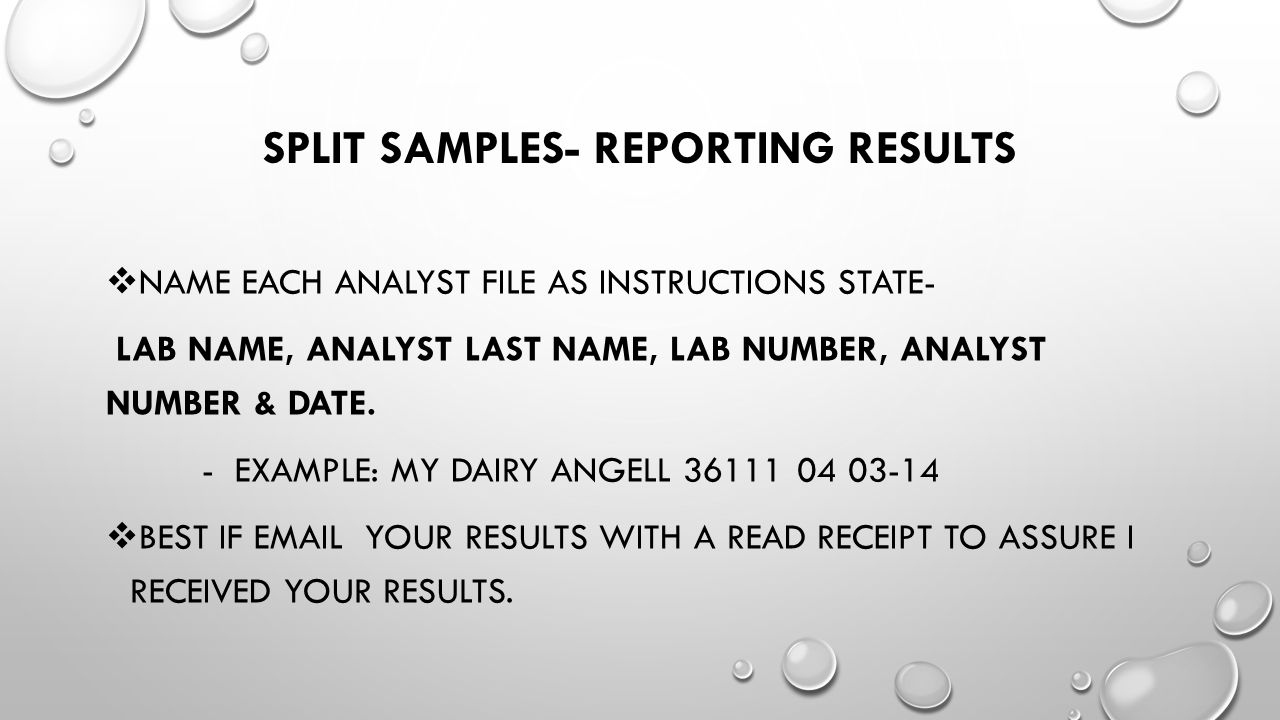 Split samples- reporting results