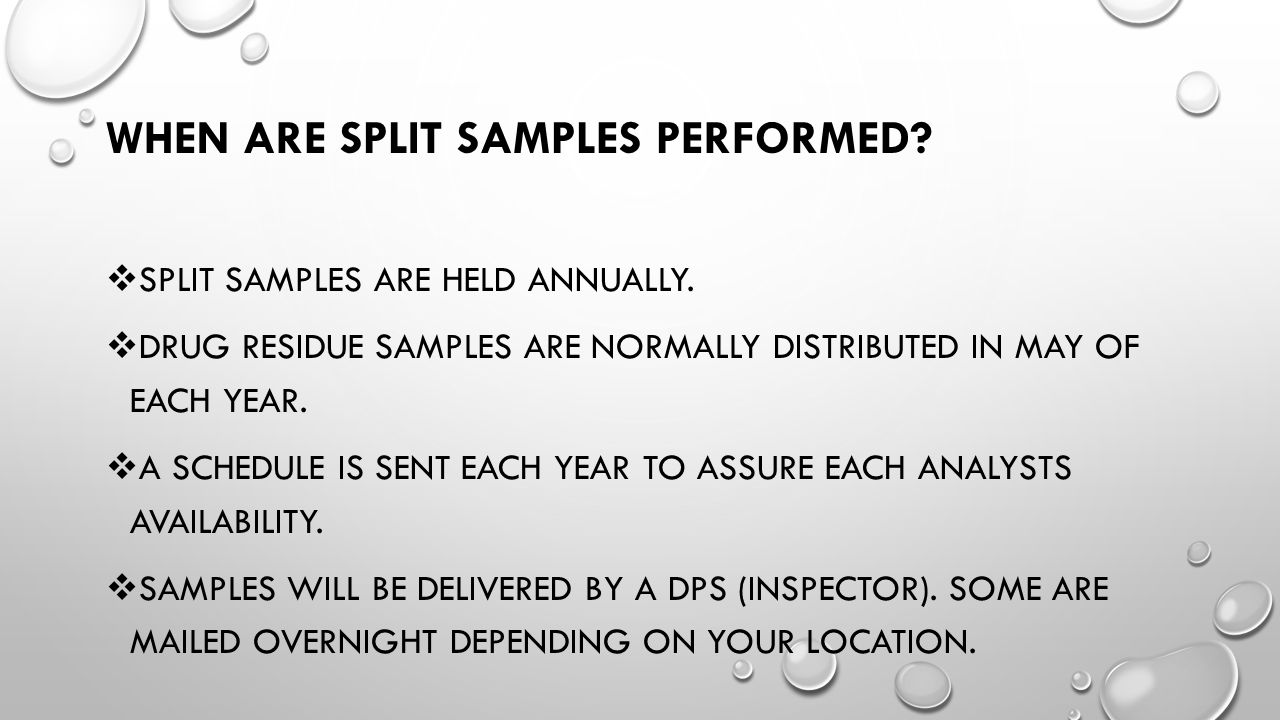 When are split samples performed