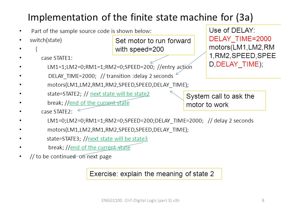 Implementation of the finite state machine for (3a)