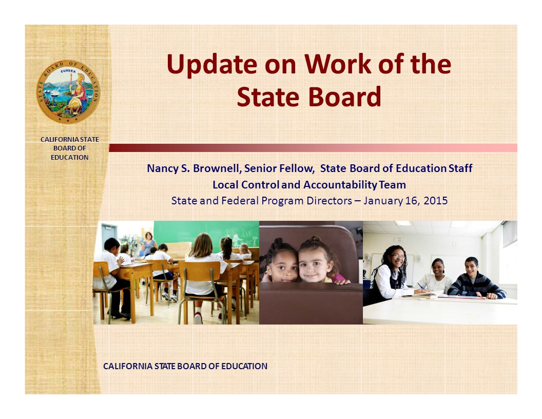 Update on Work of the State Board