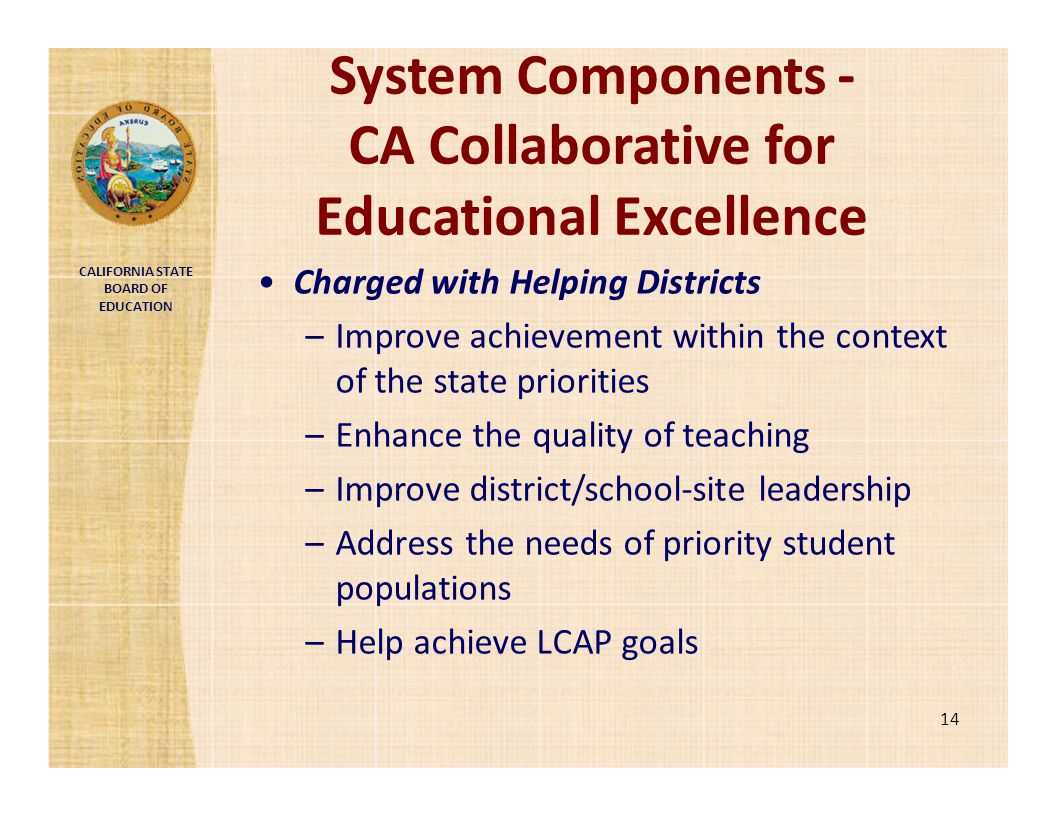 System Components ‐ CA Collaborative for Educational Excellence