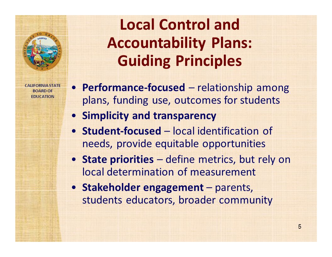 Local Control and Accountability Plans: Guiding Principles