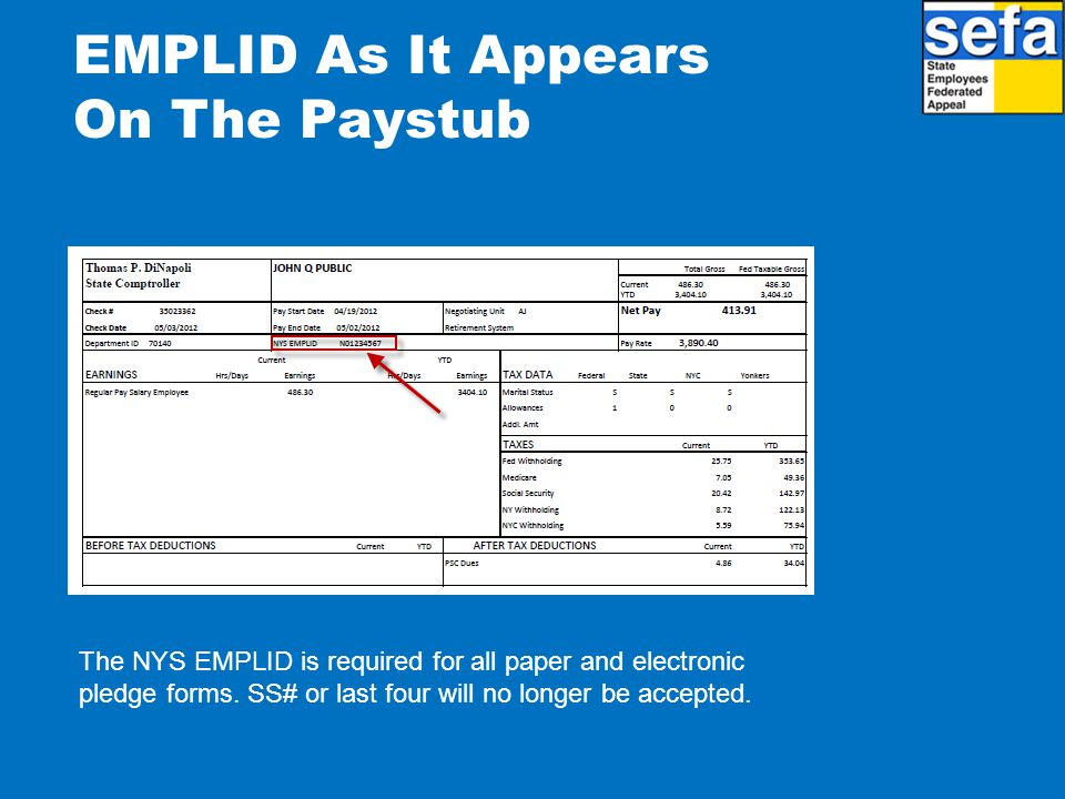 EMPLID As It Appears On The Paystub