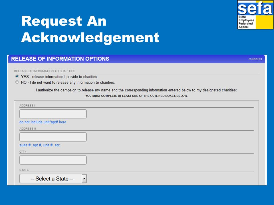 Request An Acknowledgement