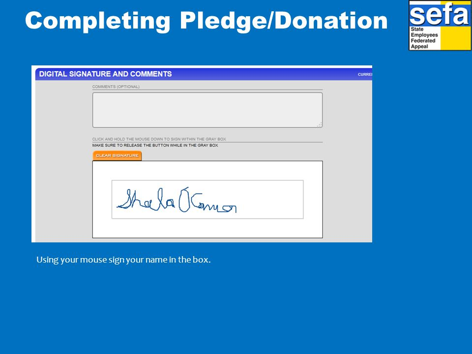 Completing Pledge/Donation