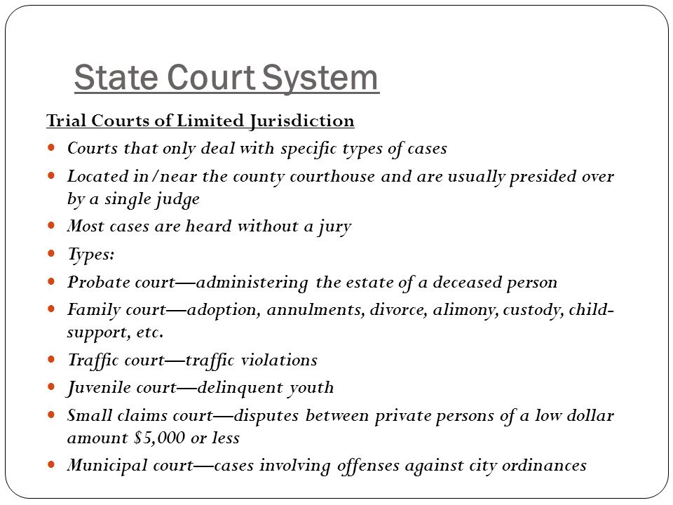 State Court System Trial Courts of Limited Jurisdiction