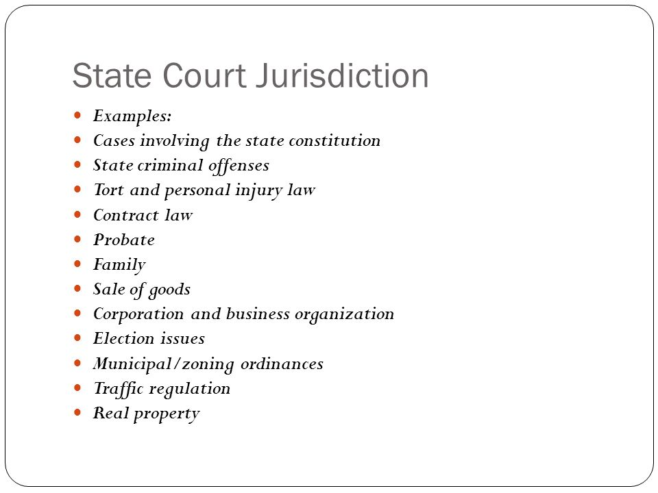 State Court Jurisdiction