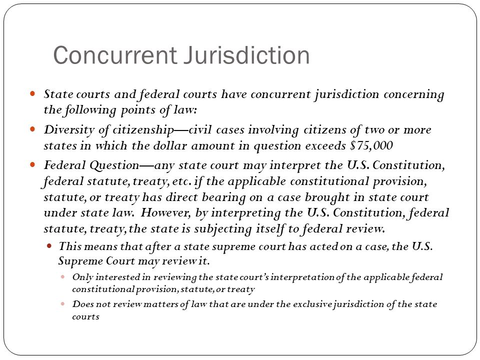 Concurrent Jurisdiction