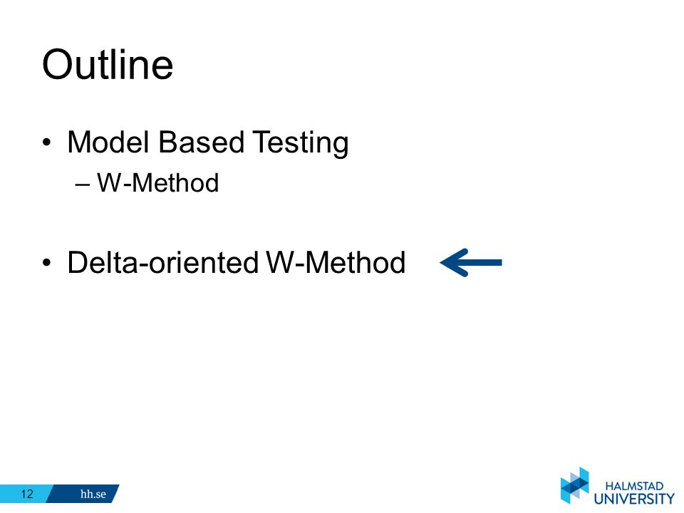 Outline Model Based Testing W-Method Delta-oriented W-Method