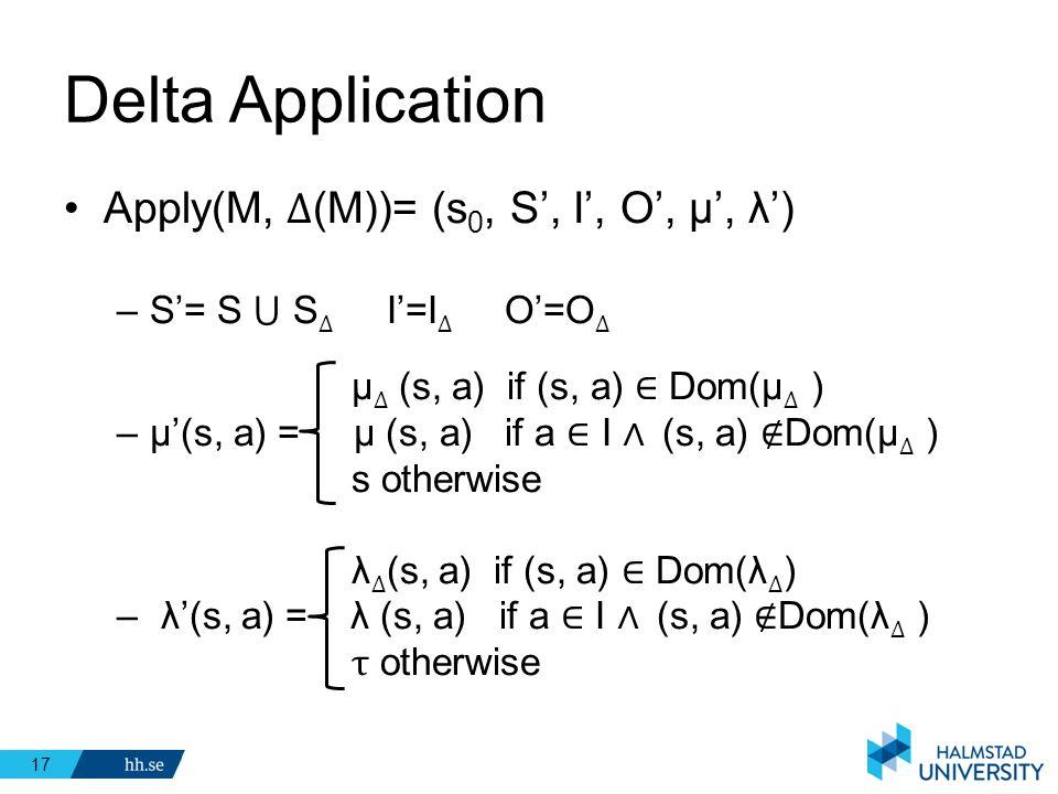 Delta Application Apply(M, ∆(M))= (s0, S', I', O', μ', λ')