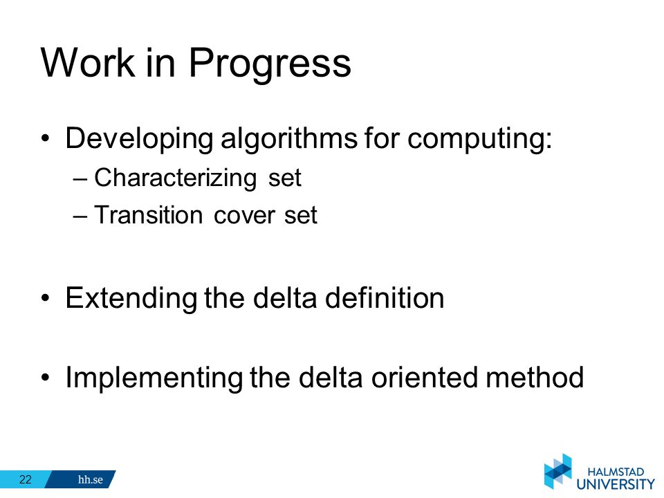 Work in Progress Developing algorithms for computing: