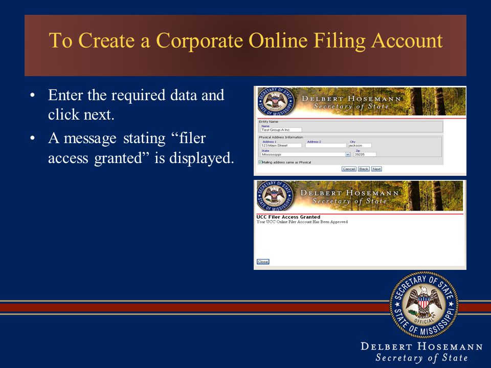 To Create a Corporate Online Filing Account