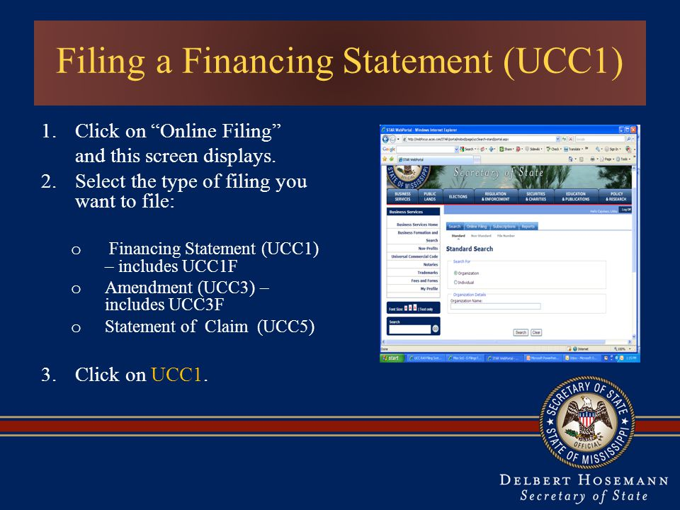 Filing a Financing Statement (UCC1)