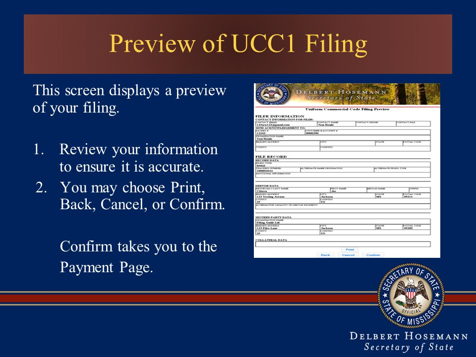 This screen displays a preview of your filing.