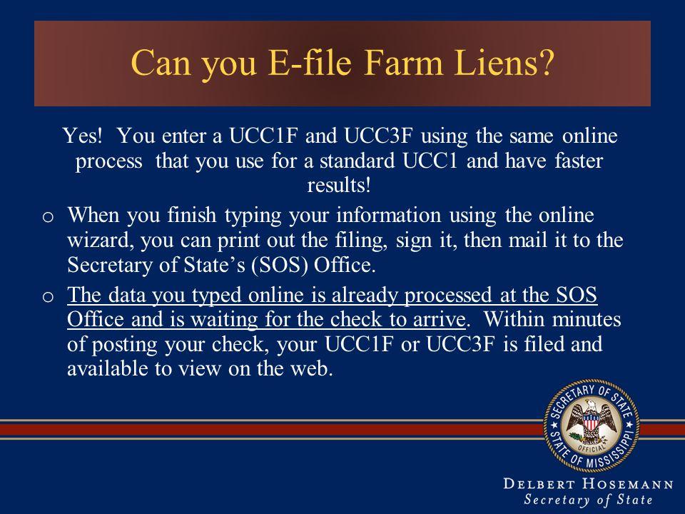 Can you E-file Farm Liens