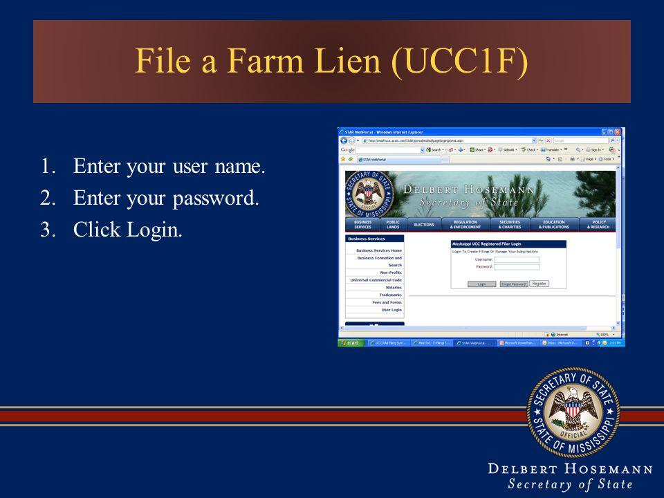 Enter your user name. Enter your password. Click Login.