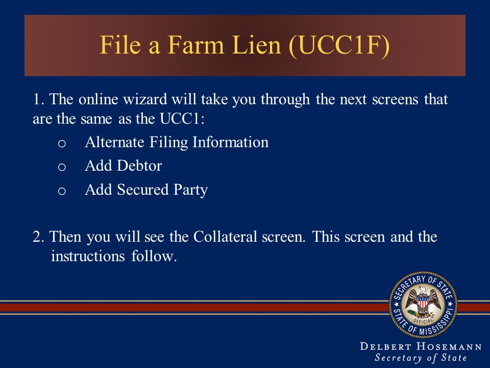 Alternate Filing Information Add Debtor Add Secured Party