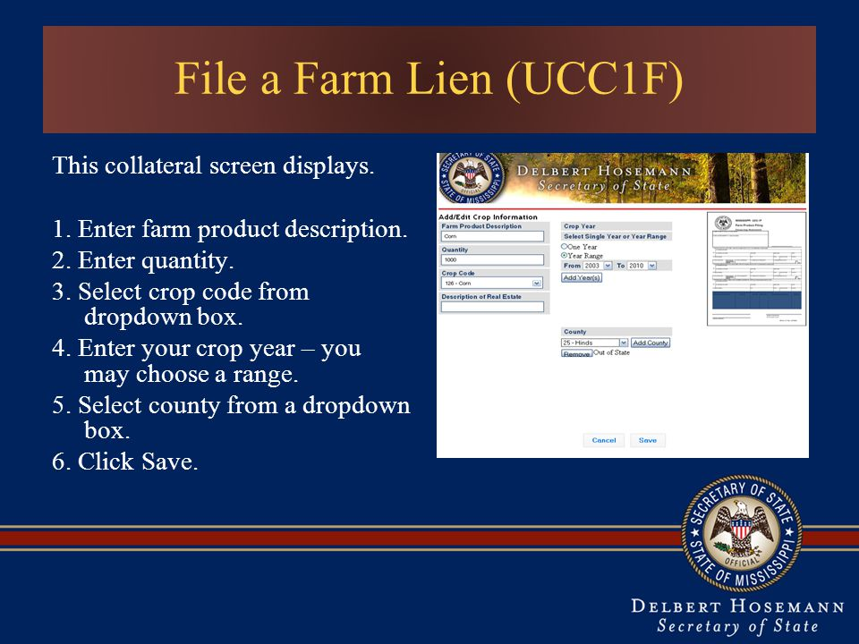 This collateral screen displays. 1. Enter farm product description.