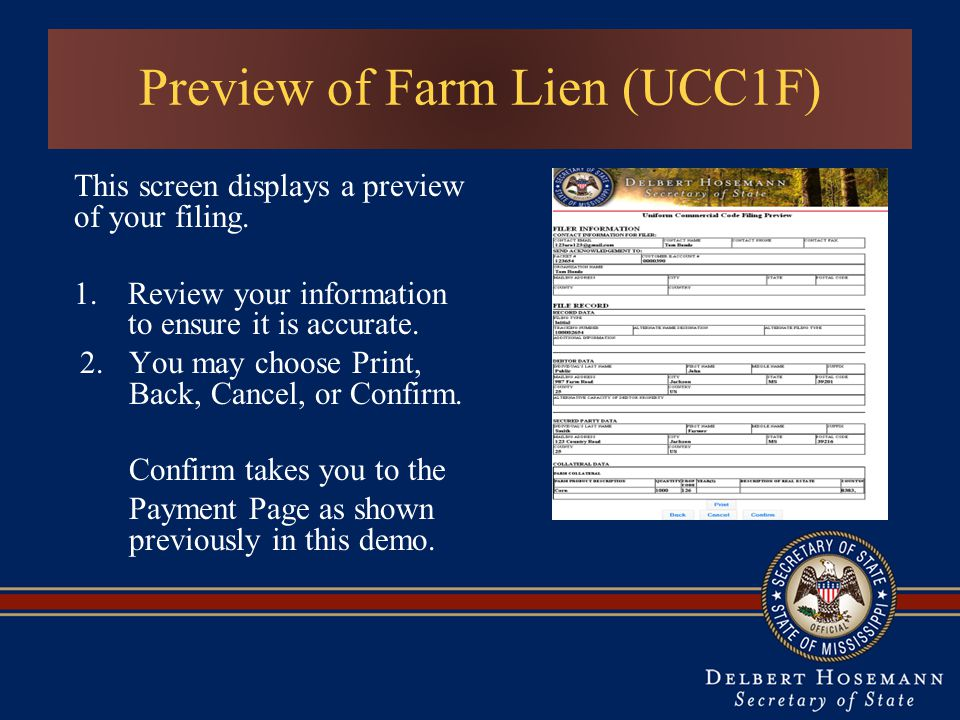 Preview of Farm Lien (UCC1F)