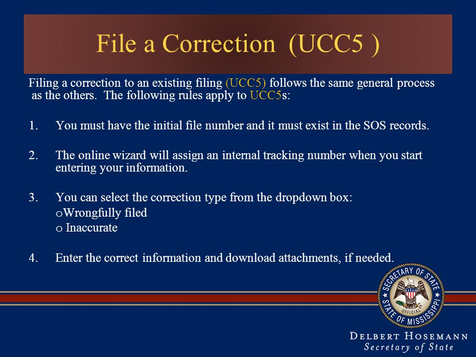 File a Correction (UCC5 )