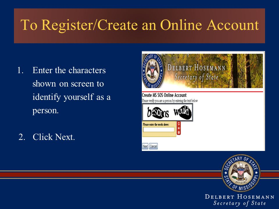 To Register/Create an Online Account