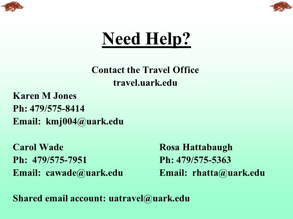 Contact the Travel Office