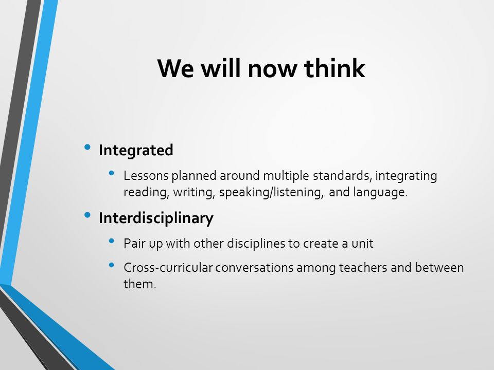 We will now think Integrated Interdisciplinary
