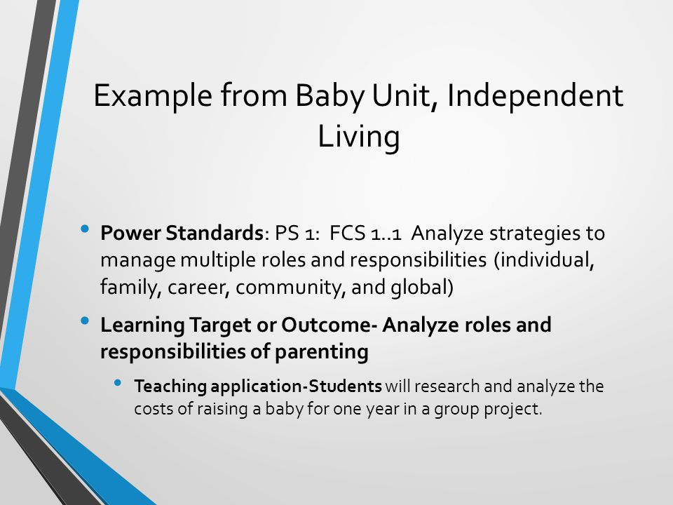 Example from Baby Unit, Independent Living