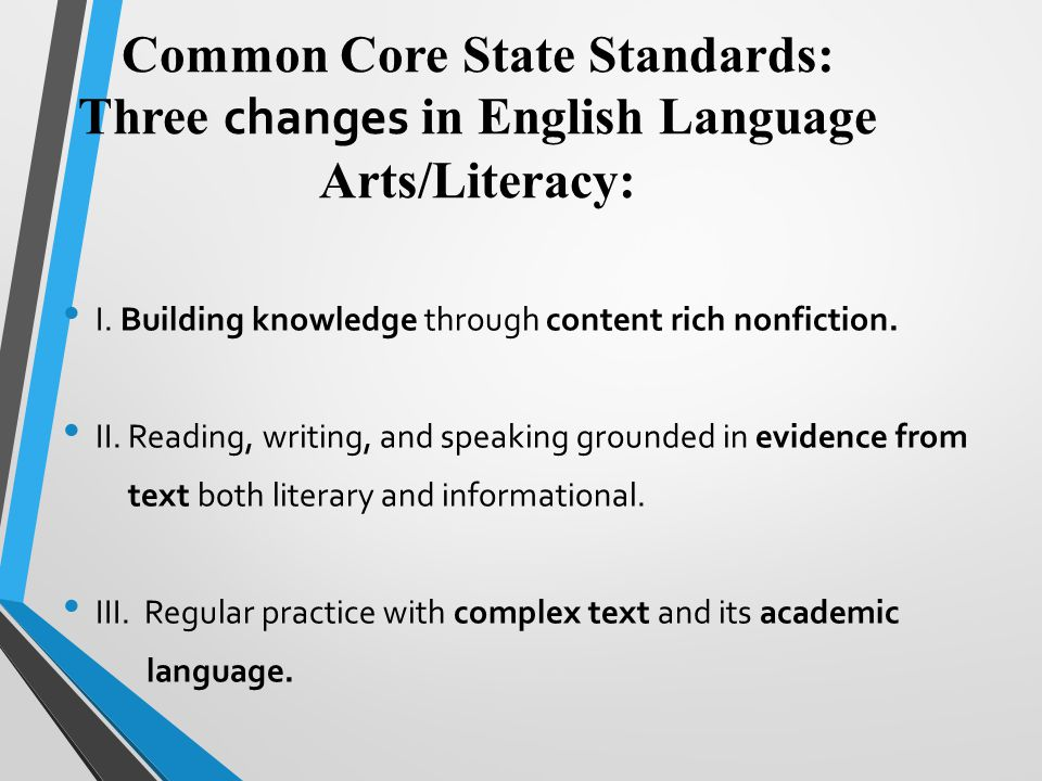 Common Core State Standards: Three changes in English Language Arts/Literacy: