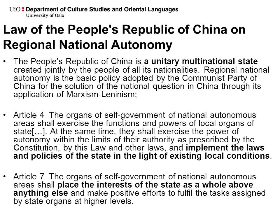 Law of the People s Republic of China on Regional National Autonomy
