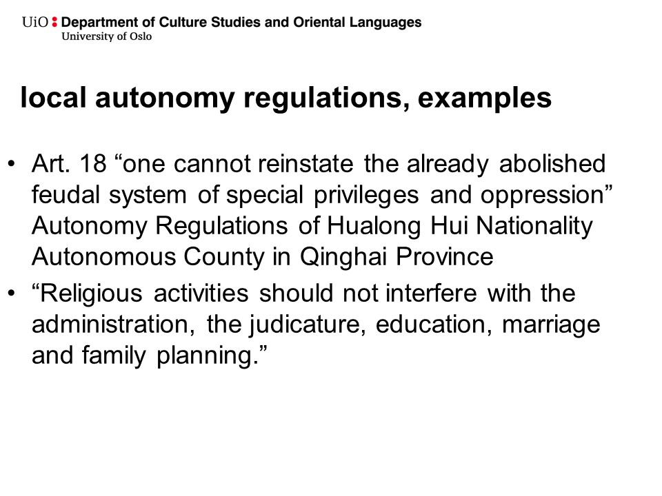 local autonomy regulations, examples