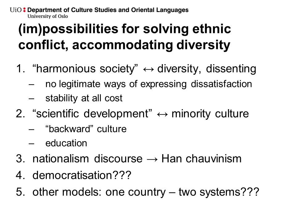 (im)possibilities for solving ethnic conflict, accommodating diversity