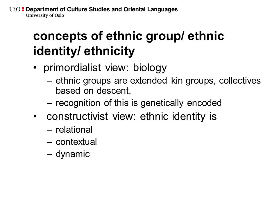 concepts of ethnic group/ ethnic identity/ ethnicity