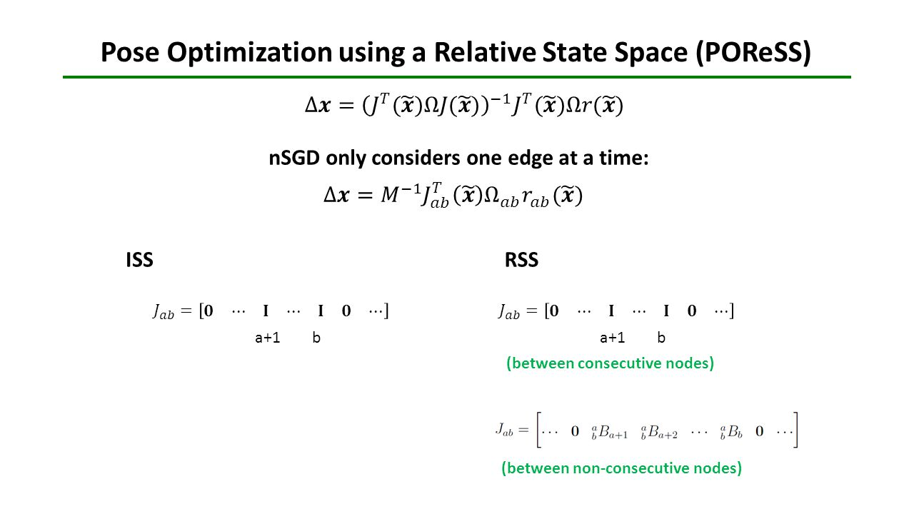 Pose Optimization using a Relative State Space (POReSS)