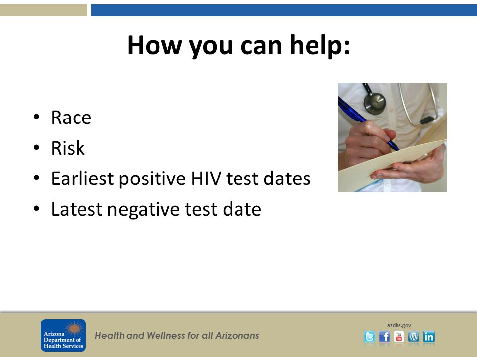 How you can help: Race Risk Earliest positive HIV test dates